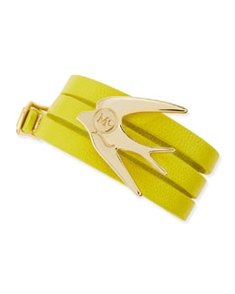 McQ Alexander McQueen Golden Swallow Leather Wrap Bracelet, Lime