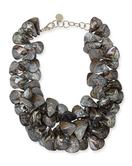 Nest Gray Mother-of-Pearl Cluster Necklace