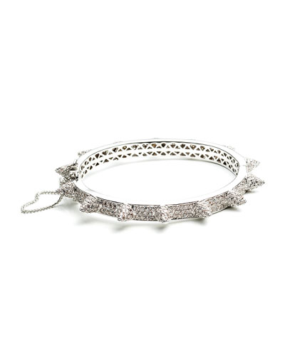 Eddie Borgo Rhodium Plated Pave Crystal Bracelet with Cones