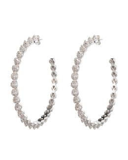 Eddie Borgo Rhodium Plated Pave Crystal Hoop Earrings with Cones