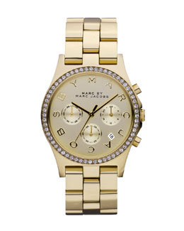 MARC by Marc Jacobs 40mm Henry Chronograph Watch, Yellow Golden