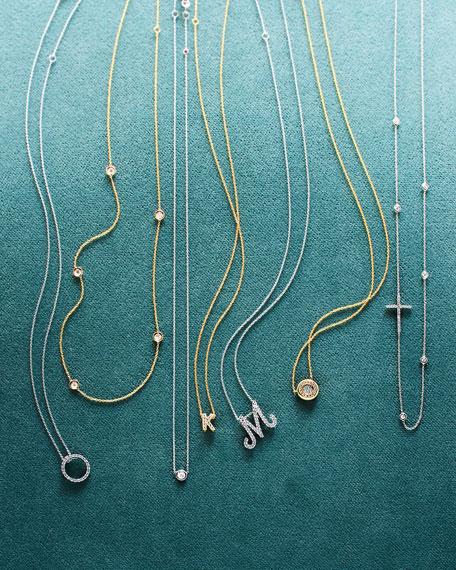 18k Yellow Gold Pave Diamond Pendant Necklace