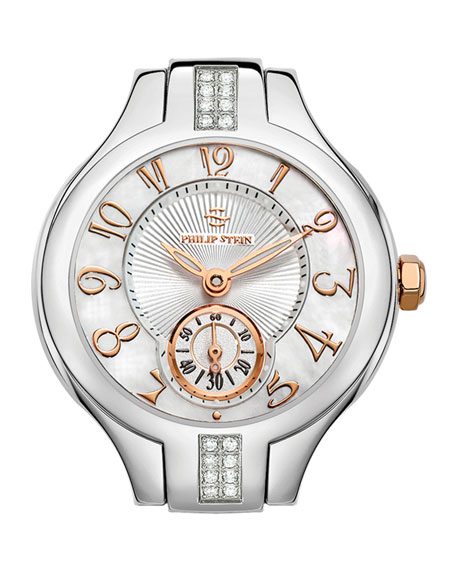 Mini Round Sport Stainless Steel/Rose Gold Diamond Watch Head