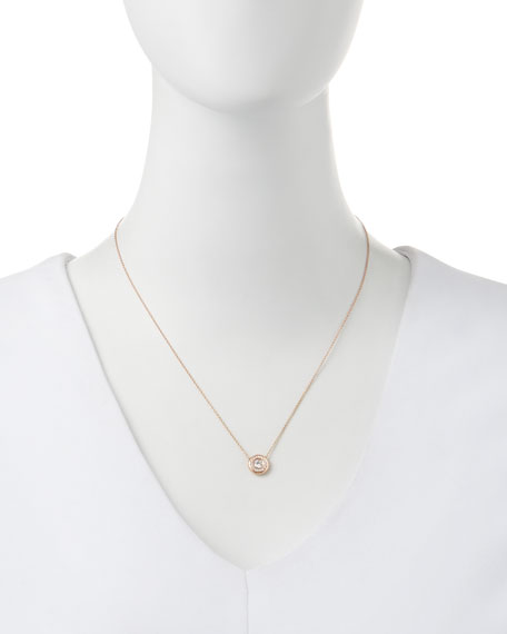 18k Rose Gold Pave Diamond Pendant Necklace