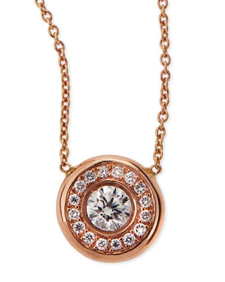 18k Rose Gold Pave Diamond Pendant Necklace