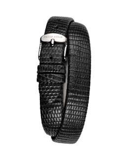 Philip Stein 12mm Lizard Double-Wrap Strap, Black