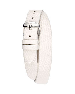 Philip Stein 12mm Lizard Double-Wrap Strap, White