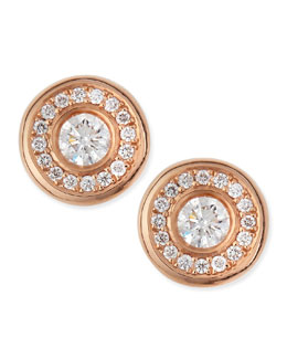 Roberto Coin 18-karat Rose Gold Diamond Stud Earrings
