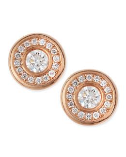 Roberto Coin 18-karat Rose Gold Diamond Stud Earrings