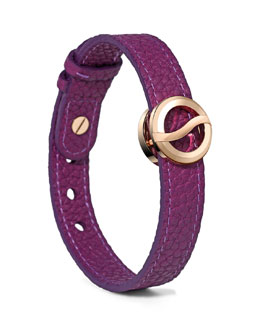 Philip Stein Leather Horizon Bracelet, Purple/Rose Golden