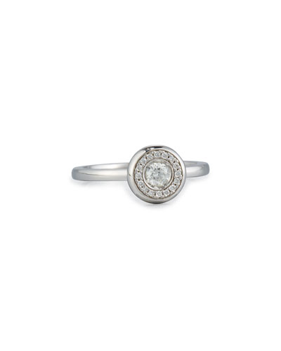 18k White Gold Diamond Station Ring