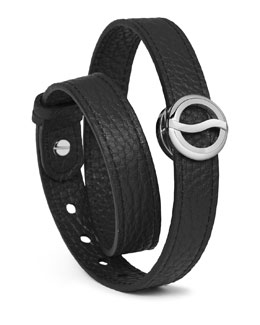 Philip Stein Leather Horizon Double-Wrap Bracelet, Black/Stainless
