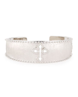JudeFrances Jewelry White Diamond Guinevere Cross Cuff Bracelet