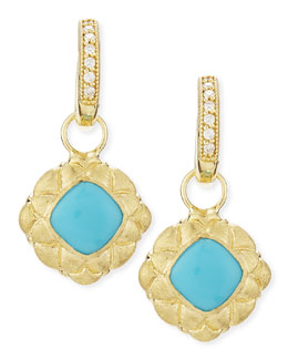 JudeFrances Jewelry Quilted Bezel Turquoise Earring Charms