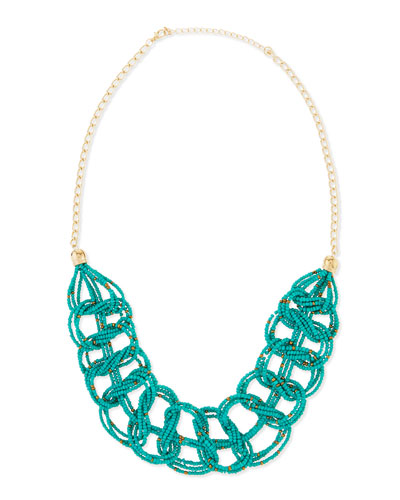 Beaded Link Necklace, Turquoise