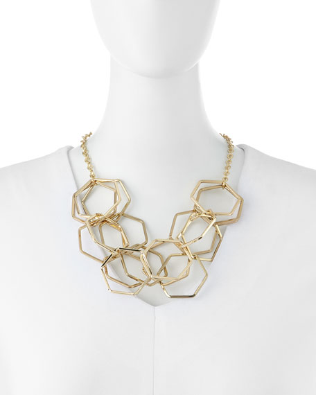 Jules Smith Hexagon Chain Necklace, Yellow Gold