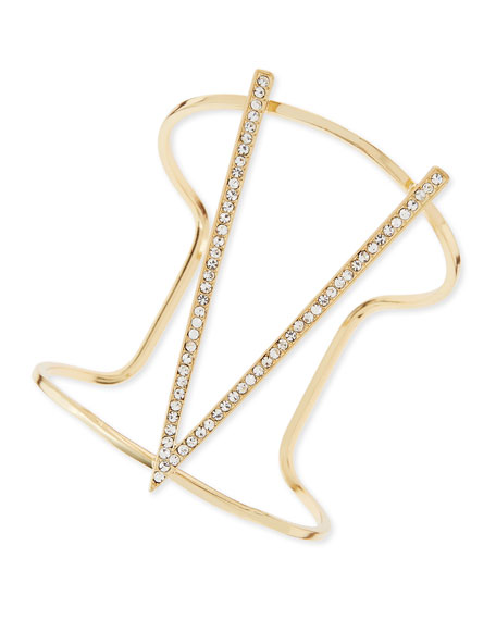 Pave Triangle Cuff, Yellow Golden