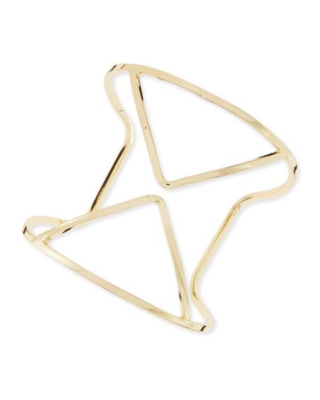 Cutout Deco Cuff Bracelet, Yellow Golden