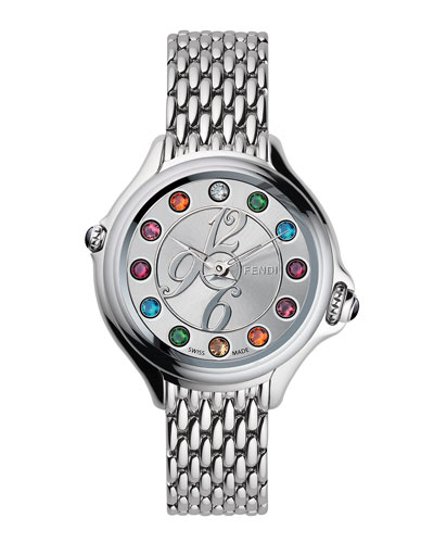 Fendi Timepieces Steel Dial Crazy Carats Topaz & Diamond Watch, Multicolor/Pink/Blue