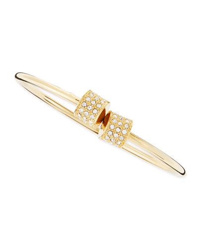 Cylinder Pave Cuff Bracelet, Yellow Golden