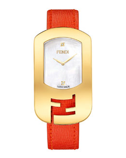 Fendi Chameleon Yellow Golden Watch, Red