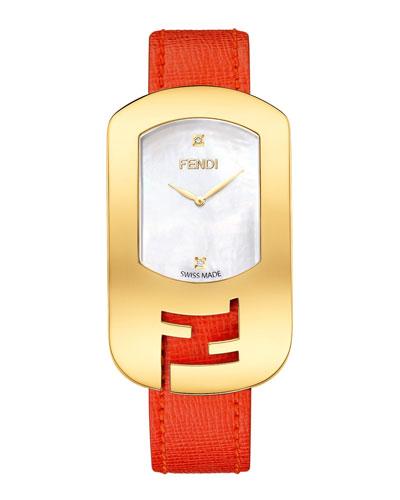 Fendi Timepieces Chameleon Yellow Golden Watch, Red