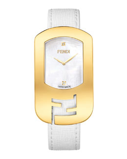 Fendi Chameleon Yellow Golden Watch, White