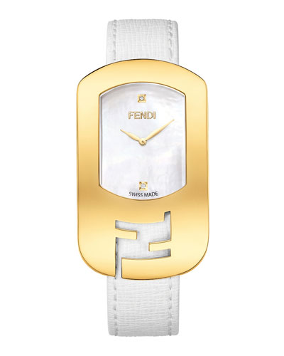 Chameleon Yellow Goldtone Watch, White