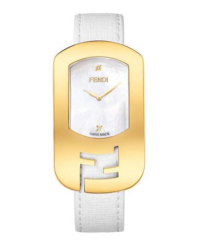 Fendi Timepieces Chameleon Yellow Golden Watch, White