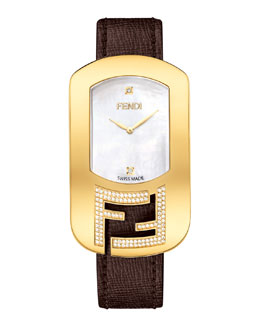 Fendi Chameleon Yellow Golden Watch with Diamonds, Espresso