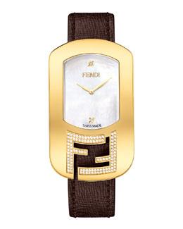 Fendi Timepieces Chameleon Yellow Golden Watch with Diamonds, Espresso