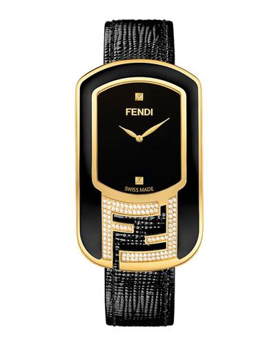 Chameleon Black Enamel & Yellow Goldtone Watch with Diamonds