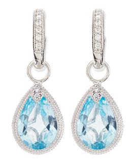 JudeFrances Jewelry Pear Blue Topaz Earring Charms with Diamonds