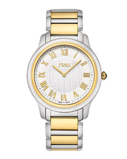 Fendi Golden & Stainless Steel Round Classico Watch
