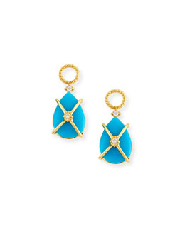 JudeFrances Jewelry Wrapped Turquoise Earring Charms with Diamonds