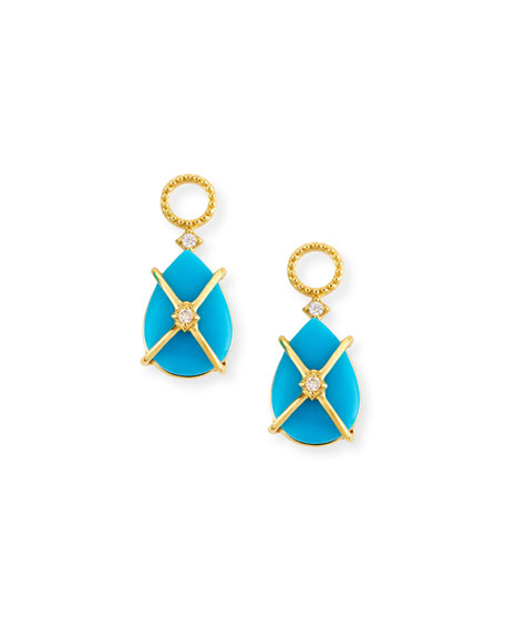 JudeFrances Jewelry Wrapped Turquoise Earring Charms with