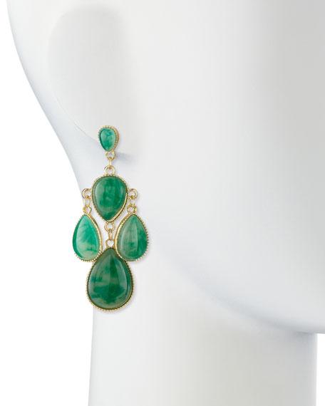 Jules Smith Emerald Chandelier Earrings, Golden