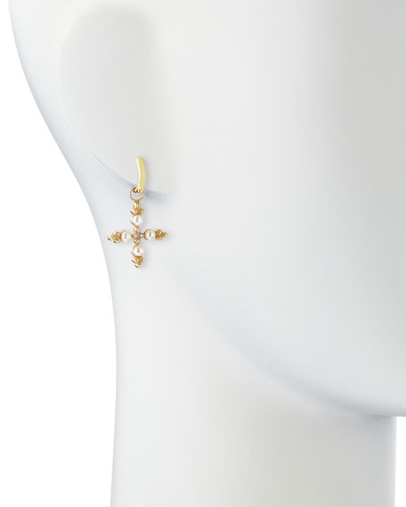Diamond & Pearl Cross Earring Charms