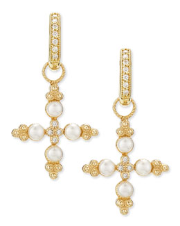JudeFrances Jewelry Zasha Diamond & Pearl Cross Earring Charms