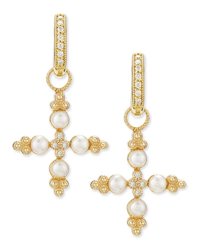 JudeFrances Jewelry Diamond & Pearl Cross Earring Charms
