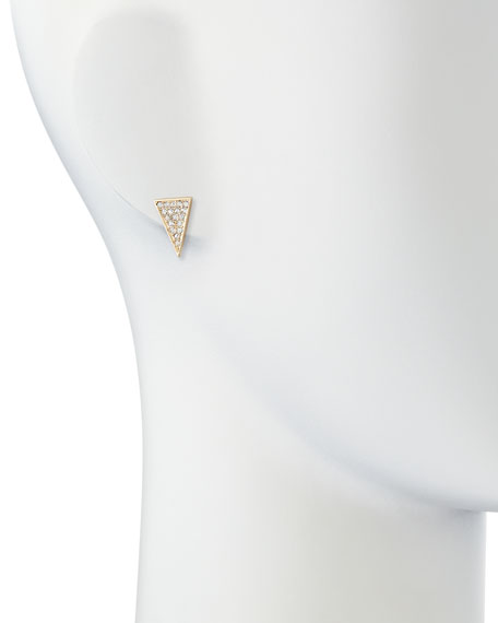 Pave Elongated Triangle Stud Earrings, Yellow Gold