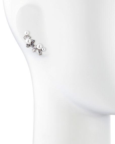 Leni Simulated Pearl & Crystal Earring Cuff