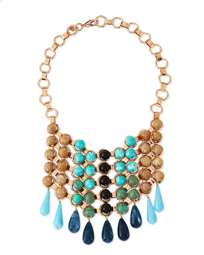 Dannijo Medine Rose Golden Turquoise Bib Necklace