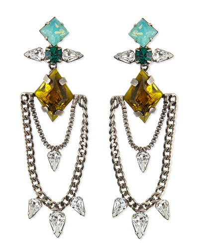 Dannijo Nadia Crystal Chain Earrings