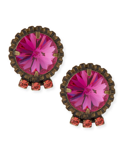 Dannijo Bracco Pink Crystal Stud Earrings