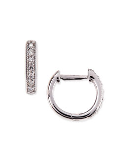 JudeFrances Jewelry Small 18k White Gold Huggie Hoop Earrings with Diamonds, 11mm