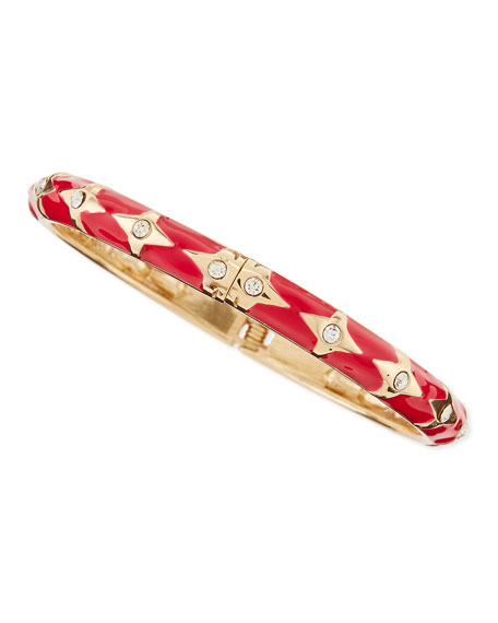 Skinny Bows & Crystals Bangle, Red