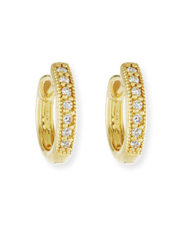 JudeFrances Jewelry Small 18k Gold Hoop Earrings with Diamonds, 11mm