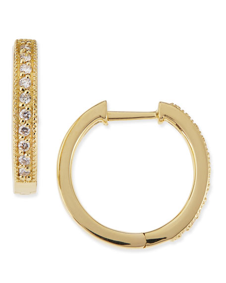 18k Yellow Gold Camelia Huggie Hoop Earrings with Diamonds, 16mm