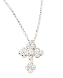 JudeFrances Jewelry Tiny White Diamond Guinevere Cross Necklace